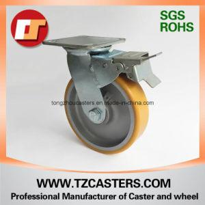 Com o freio do rodízio giratório roda de PU com centro de alumínio6*2