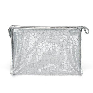 Lady Fashion argent maille nylon cosmétique pochette d'embrayage (YKY7536-1)