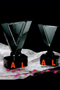 K9 optique trophée de cristal Prix avec base Black Crystal