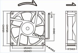 120mm 120X120X38mm gelijkstroom Ventilator voor het KoelSysteem van de Machine van het Lassen