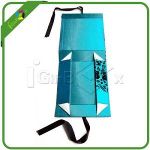 Casella di carta pieghevole su ordinazione con il nastro della seta della chiusura del magnete