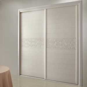 Oppein cinza 2 portas corrediças para entalhar Flores Armário de madeira (YG21339)