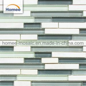 Glasmischungs-Drama-weißes Marmormosaik für Studien-Raum-Wand-Fliesen