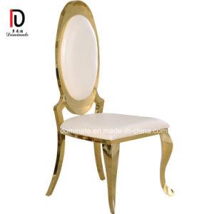 Novo design moderno de ouro de luxo Royal Golden Hotel Banquetes Mobiliário Jantar Restaurante Cadeira de casamento em aço inoxidável