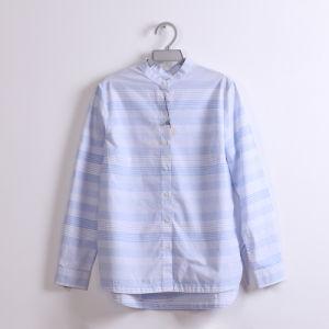 100% хлопчатобумажная пряжа домашний полосы длинной втулки футболка