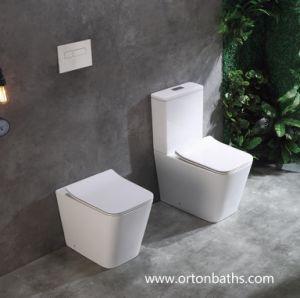 De vuelta a la pared de dos piezas de Ce/marca de agua baño certificada UF cierre suave funda asiento wc