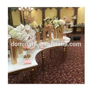 Or Rose de haute qualité châssis en acier inoxydable demi-ronde forme S la table de banquet de mariage de l'Hôtel Restaurant La salle à manger en plein air location mariage Parti de l'événement