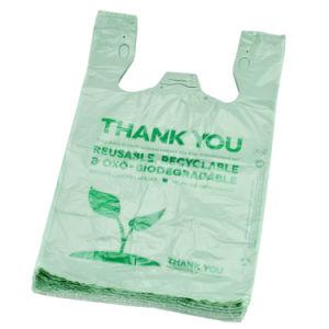 100% biodegradável e compostável HDPE/LDPE PE PLA+Pbat comercial de amido de milho personalizados Supermercado Impressão amiga do seu próprio logotipo T-shirt sacos de plástico