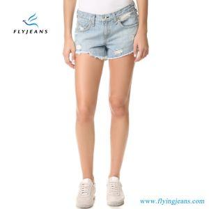 Di modo dei ragazzi del vento jeans blu-chiaro del denim di Short giù per le donne dai jeans della mosca