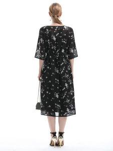 여름 차가운 인쇄 시퐁 치마 여자의 복장 복장 둥근 목 손질 복장