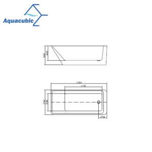 白(AB6811-1)の長方形のアクリルの支えがない浴槽