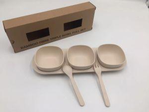 Fibre de bambou Biogradable Petit bol avec le bac