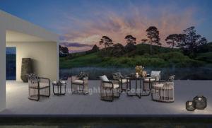 최신 판매 알루미늄 호텔 프로젝트 가구 세트를 식사하는 옥외 안뜰 정원