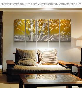 Paroi métallique Décor Art pour la chambre/5 morceau Art Moderne peinture murale Photos de bambou pour salle de séjour des décorations pour la maison