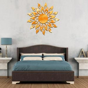 Adhésif Mirrow Mur 3D Sun sticker autocollant acrylique
