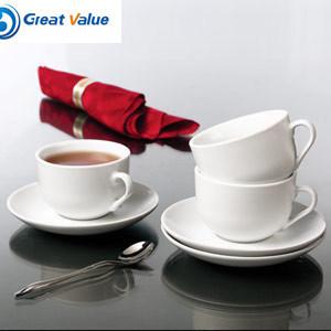 Comercio al por mayor impresas personalizadas de taza de café de cerámica blanca con plato