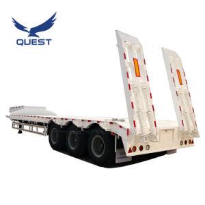 3 Essieu col de cygne 80 tonne Heavy Duty chargeur BAS/LIT Lowboy Lowbed/ basse camion-remorque semi-remorques pour le transport de l'excavateur
