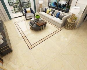 Aspecto de mármol beige pleno Polieshed piso de azulejos de cerámica vidriada para pavimentación interior