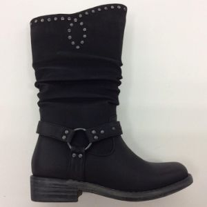 Nouveau style de talon Chuncky Mesdames Boot avec Plcated (S 14)