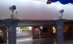 Embaciamento montados no tecto fãs para os fãs de névoa de refrigeração industrial no exterior