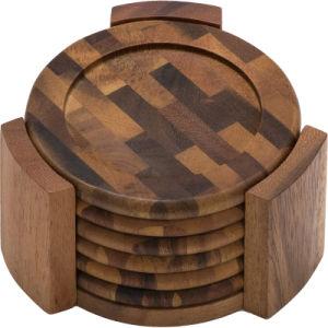 Final de la madera de acacia de grano redondo Posavasos y Caddy, de 7 piezas
