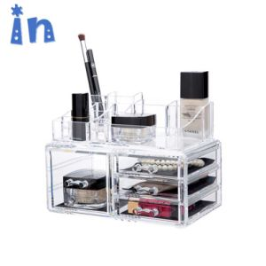 Акриловые украшения и косметический выдвижных ящиков для хранения дисплей органайзера для макияжа ящики с 11 ящиками и