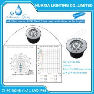 36watt IP68は12Vステンレス鋼LED水中引込められたライトを防水する