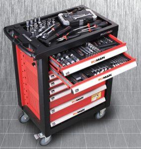 車輪が付いているツールキャビネット、ツールのトロリー、工具セット、道具箱