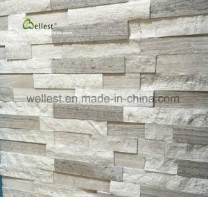 壁カバーおよびクラッディングのための現代段階的M231白い木製の大理石文化石