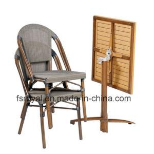 Tejido de malla de poliéster bastidor de aluminio Bambú Buscar silla de comedor Muebles restaurante al aire libre