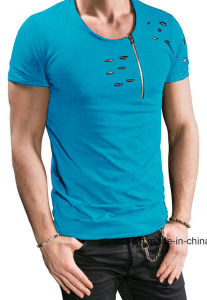 중국 공장 관례에 의하여 찢기는 우연한 남자 셔츠