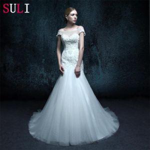 Cap Sleeve Real Photo Lace up Mermaid Wedding Dress (ZXB-25)