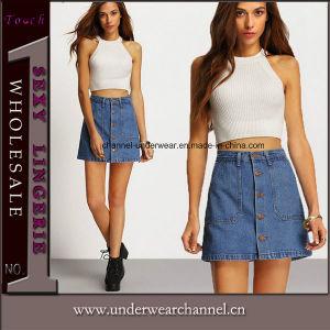 Moda 100% algodón señoras línea Jeans Skinny Jean falda corta d9e8d1cd1d48