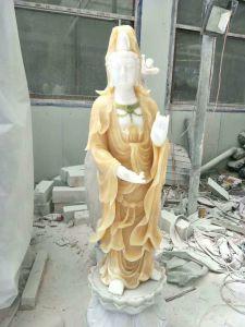 Het professionele Witte Marmeren Beeldhouwwerk Lachende Boedha van Boedha voor Verkoop