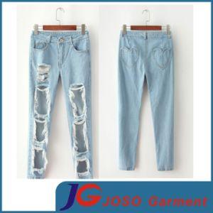 comprar más nuevo alta calidad sobornar auténtico El muslo y rodilla roto agujero Dama camiseta pantalones de Jean (JC1344)