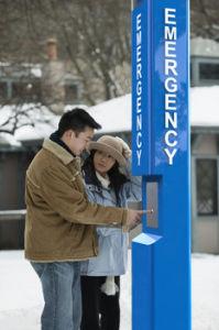 J&R angeschaltener Notruftelefon-blauer heller Aufruf-Solarkasten, Campus-Notruftelefon