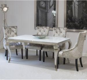 Muebles caseros modernos del comedor de Foshan/conjuntos de cristal negros del vector de cena de Louis del acero inoxidable con la tela del terciopelo que cena sillas