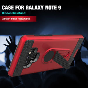 カーボンSamsungギャラクシーノート9のためのファイバーによって隠されるKickstandの携帯電話の箱