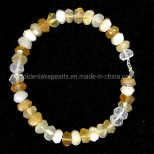 Amarelo de boa qualidade Opal Bracelete Rondelles Multifacetada com 925 Sterling Silver