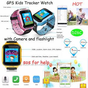 Reloj del perseguidor del GPS de los cabritos con la cámara y la linterna D26c