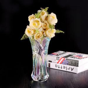 Claro de alta calidad de vidrio cuadrado florero de flores