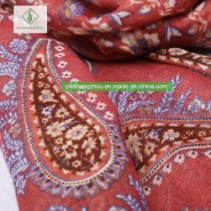 新しいデザインはカシューによって印刷されたビスコースショールの方法女性を縞で飾ったScarf