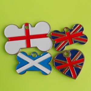 Paese Flag Pet Tag, Flag BRITANNICO Bone e Heart Dog Tag