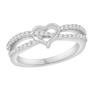 中心の形の女性のための白い立方ジルコンの純銀製のリング