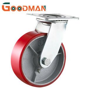 Placa superior giratoria rojo PU núcleo de hierro ruedas giratorias para servicio pesado