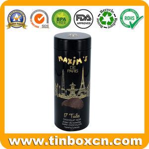 Venta caliente cilíndrica Custom Dark Chocolate tin box con repujados