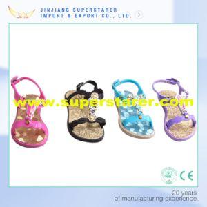 Новейшие разработки ПВХ девочек сандалии, непринужденной обстановке открытым носком детей босоножки с оформлением Rhinestone