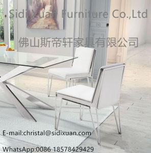 新しい現代熱い方法ステンレス鋼PUカバー贅沢な食事の椅子