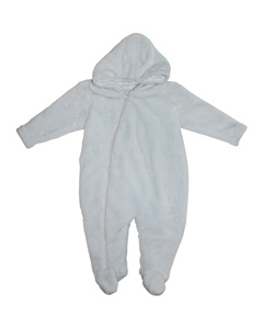 帽子が付いている長袖のビロードの赤ん坊のロンパース