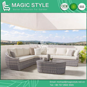 Mimbre mimbre sofá con vidrio cerámico Jardín mimbre sofá mesa de café al aire libre Muebles de jardín